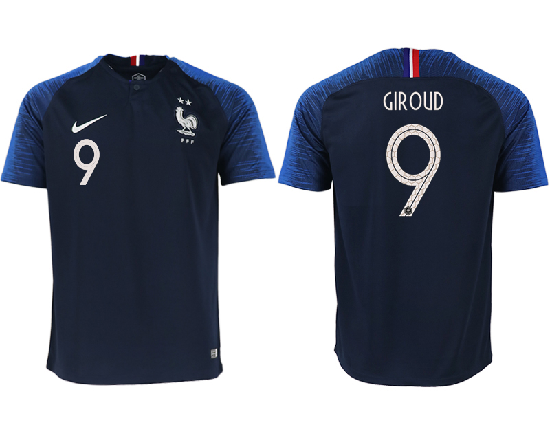 Men 2018 World Cup France home aaa version 9 blue soccer jerseys