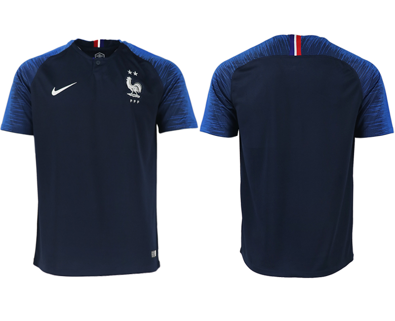 Men 2018 World Cup France home aaa version blue soccer jerseys