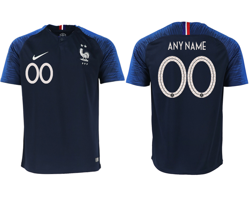 Men 2018 World Cup France home aaa version customized blue soccer jerseys