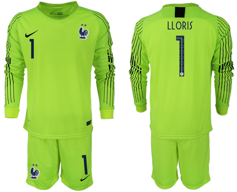 Men 2018 World Cup French fluorescent green long sleeve goalkeeper 1 soccer jersey