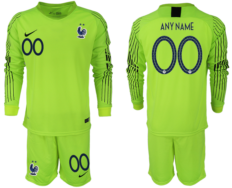 Men 2018 World Cup French fluorescent green long sleeve goalkeeper customized soccer jersey