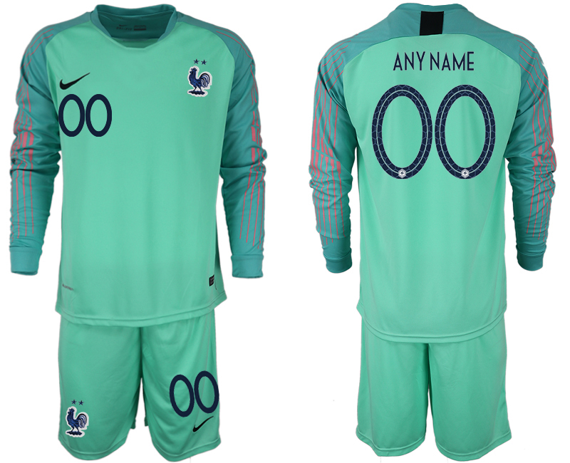Men 2018 World Cup French green goalkeeper long sleeve customized soccer jerseys