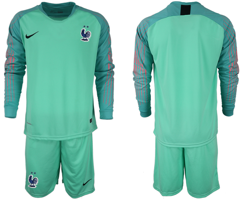 Men 2018 World Cup French green goalkeeper long sleeve soccer jerseys