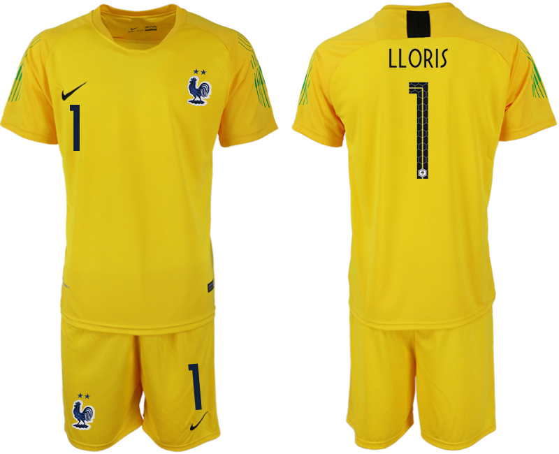 Men 2018 World Cup French yellow goalkeeper 1 soccer jersey