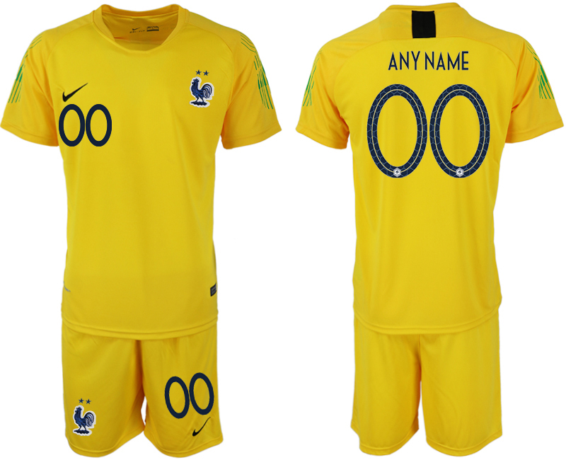 Men 2018 World Cup French yellow goalkeeper customized soccer jersey