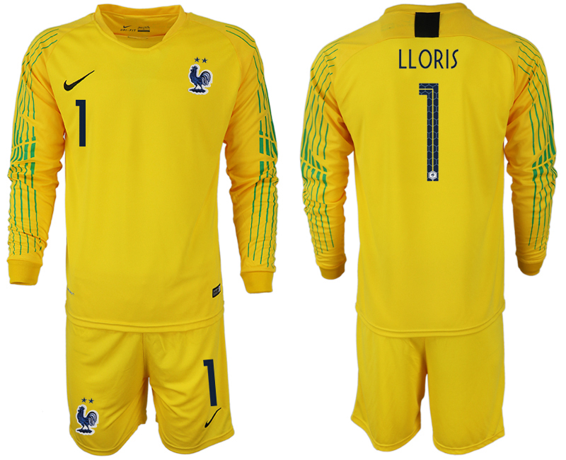 Men 2018 World Cup French yellow goalkeeper long sleeve 1 soccer jerseys