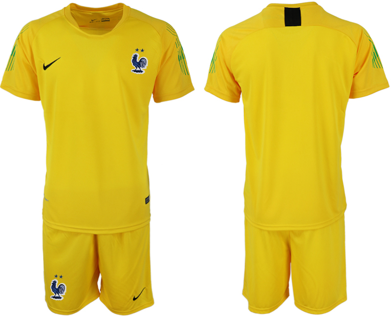 Men 2018 World Cup French yellow goalkeeper soccer jersey