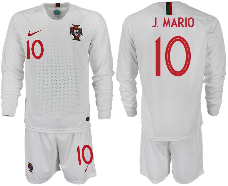 Men 2018 World Cup Portugal away Long sleeve 10 white soccer jerseys
