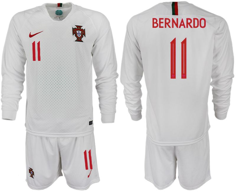 Men 2018 World Cup Portugal away Long sleeve 11 white soccer jerseys