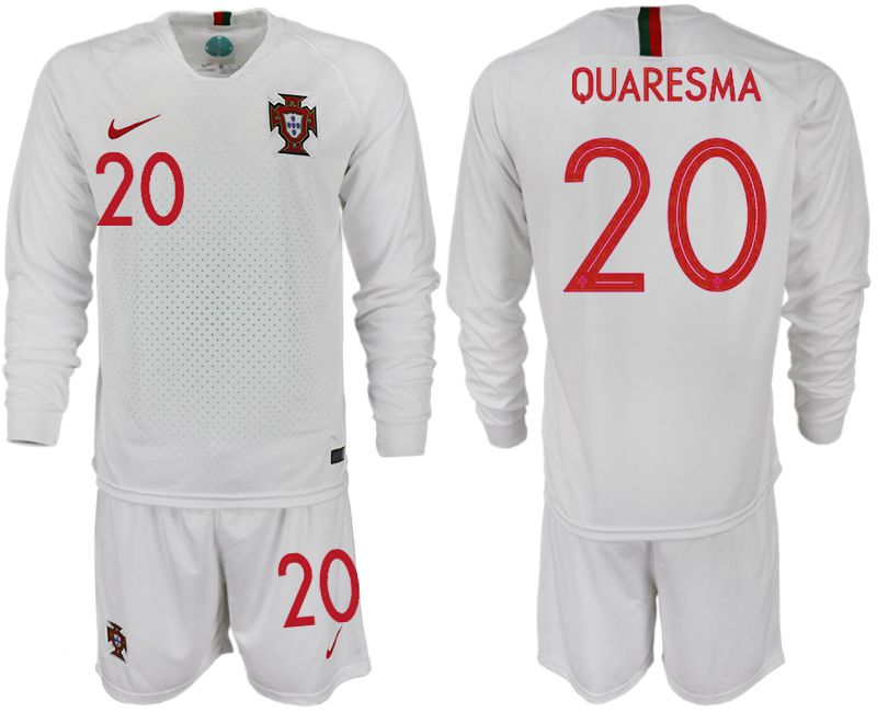 Men 2018 World Cup Portugal away Long sleeve 20 white soccer jerseys