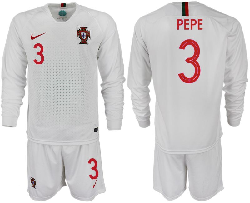 Men 2018 World Cup Portugal away Long sleeve 3 white soccer jerseys