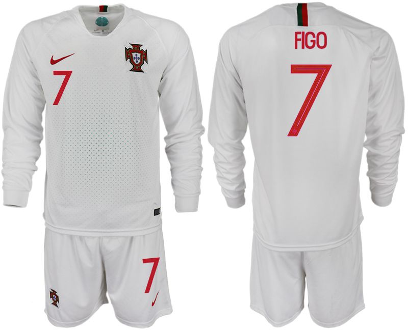 Men 2018 World Cup Portugal away Long sleeve 7 white soccer jerseys1