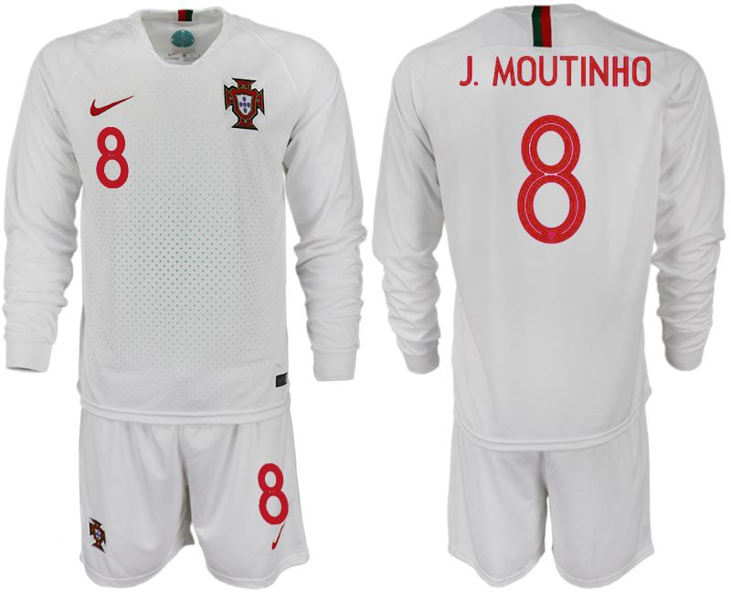 Men 2018 World Cup Portugal away Long sleeve 8 white soccer jerseys