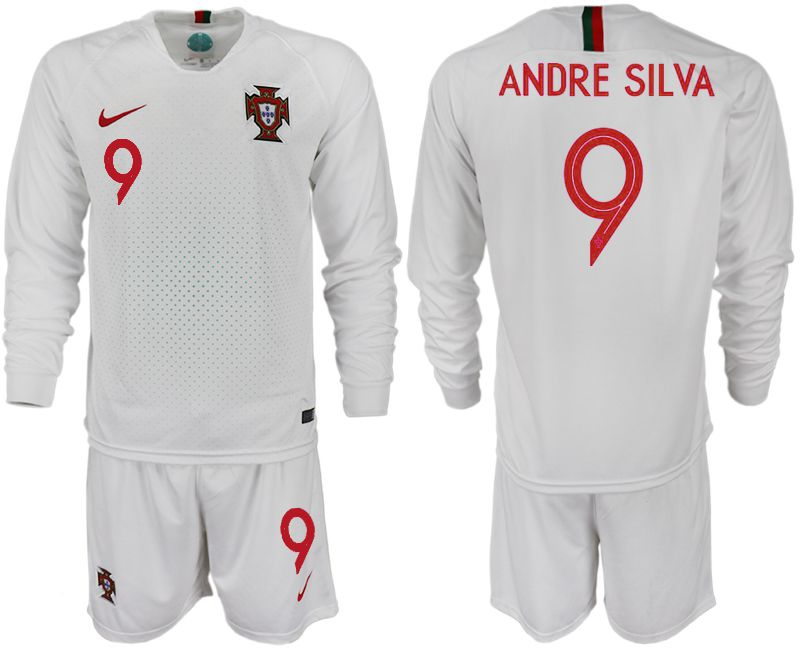 Men 2018 World Cup Portugal away Long sleeve 9 white soccer jerseys