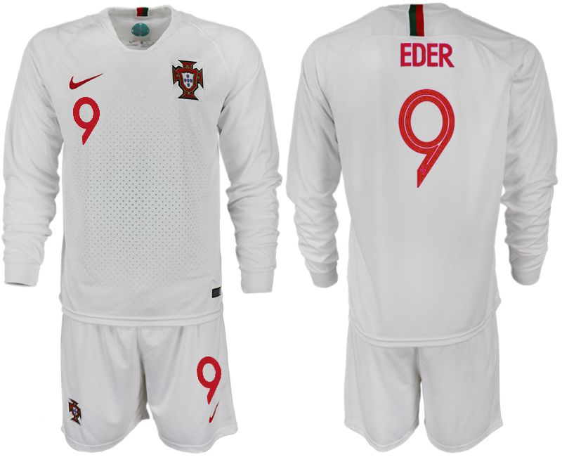 Men 2018 World Cup Portugal away Long sleeve 9 white soccer jerseys1