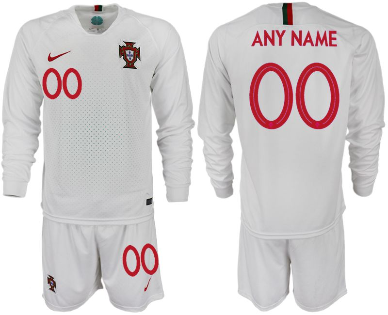 Men 2018 World Cup Portugal away Long sleeve customized white soccer jerseys