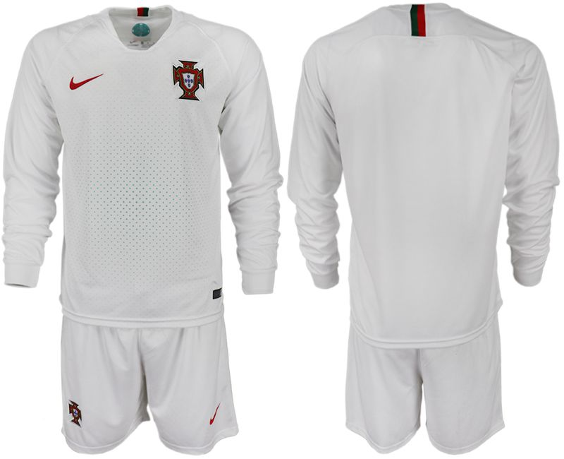 Men 2018 World Cup Portugal away Long sleeve white soccer jerseys