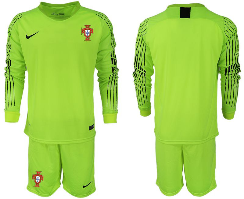 Men 2018 World Cup Portugal fluorescent green goalkeeper long sleeve soccer jerseys