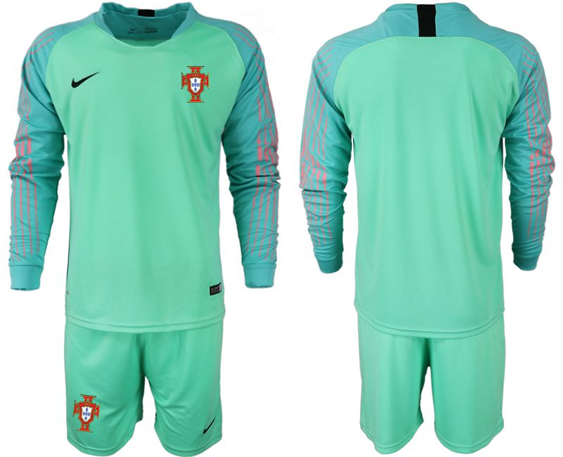 Men 2018 World Cup Portugal green goalkeeper long sleeve soccer jerseys