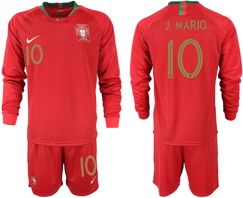 Men 2018 World Cup Portugal home Long sleeve 10 red soccer jerseys