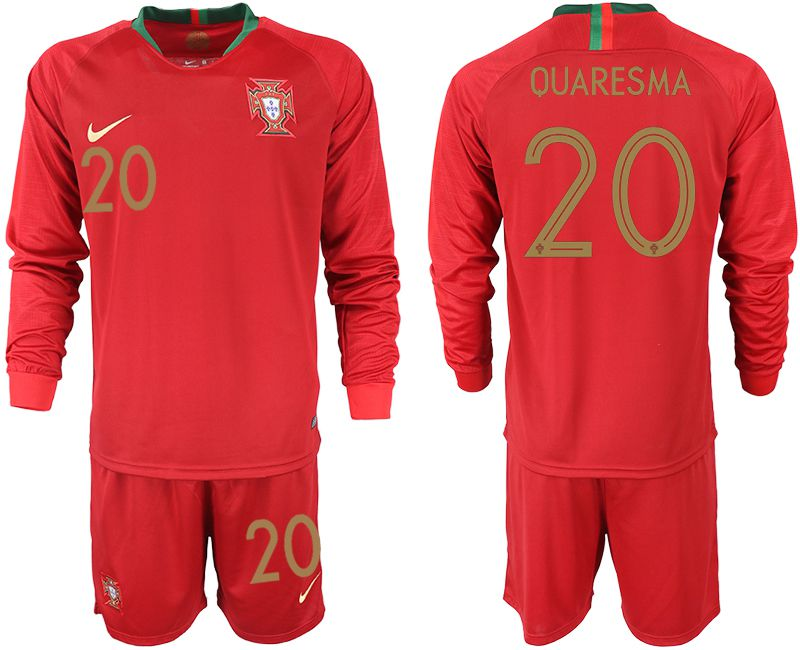Men 2018 World Cup Portugal home Long sleeve 20 red soccer jerseys