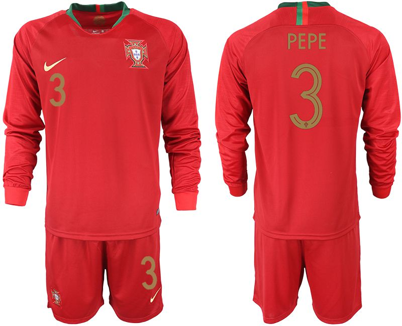 Men 2018 World Cup Portugal home Long sleeve 3 red soccer jerseys