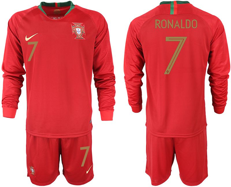 Men 2018 World Cup Portugal home Long sleeve 7 red soccer jerseys