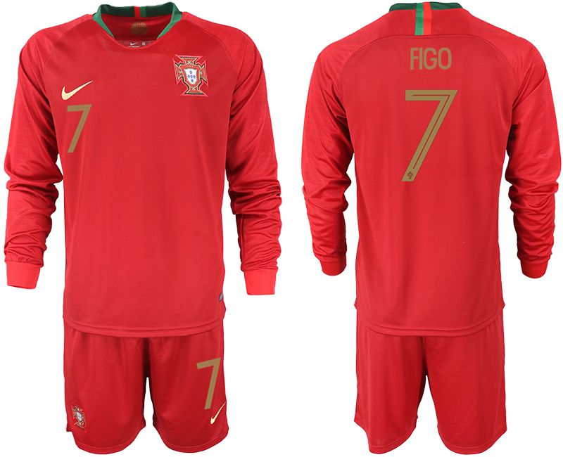 Men 2018 World Cup Portugal home Long sleeve 7 red soccer jerseys1