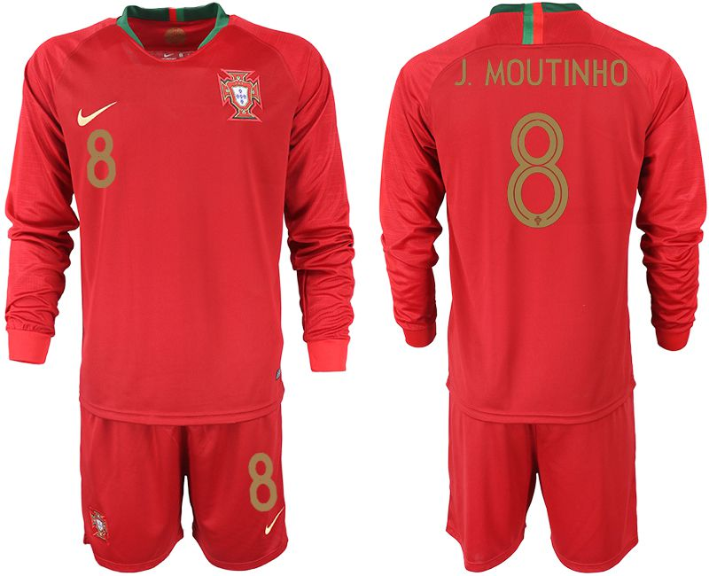 Men 2018 World Cup Portugal home Long sleeve 8 red soccer jerseys