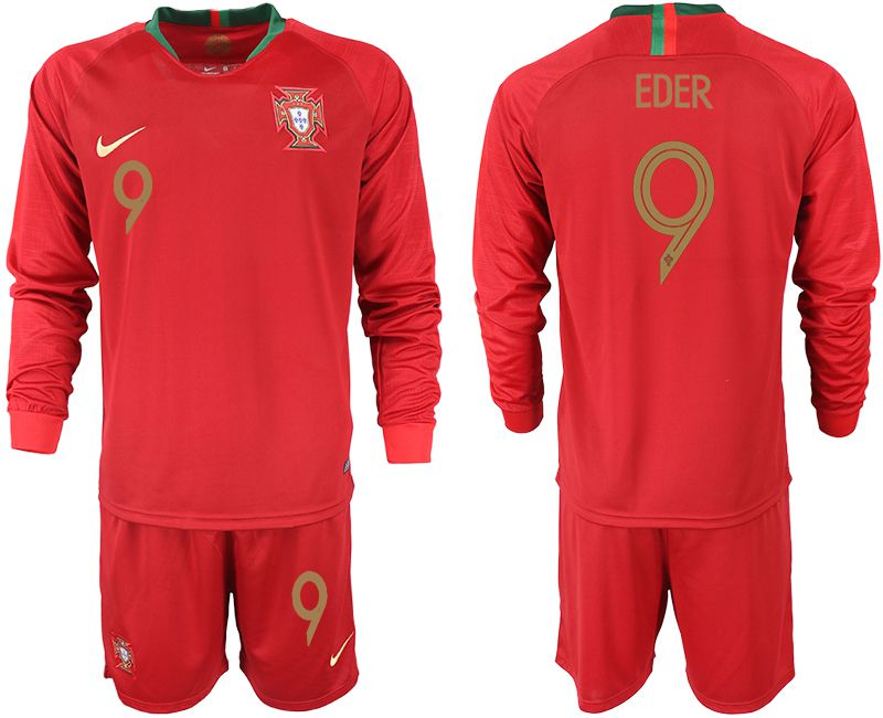 Men 2018 World Cup Portugal home Long sleeve 9 red soccer jerseys1