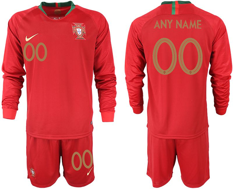 Men 2018 World Cup Portugal home Long sleeve customized red soccer jerseys