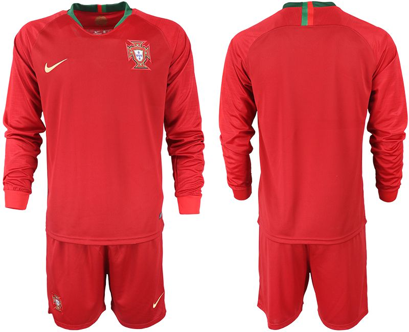 Men 2018 World Cup Portugal home Long sleeve red soccer jerseys
