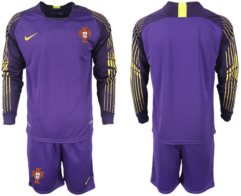 Men 2018 World Cup Portugal violet long sleeve goalkeeper soccer jerseys