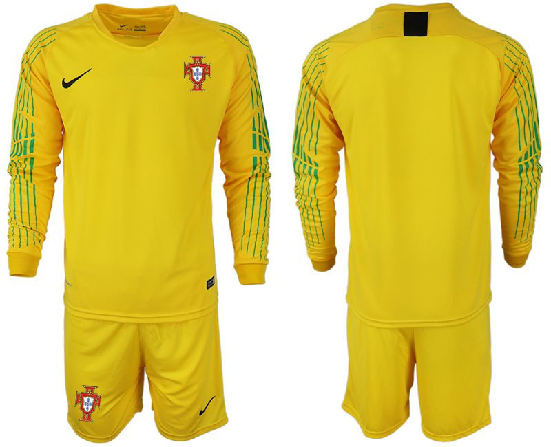 Men 2018 World Cup Portugal yellow goalkeeper long sleeve soccer jerseys