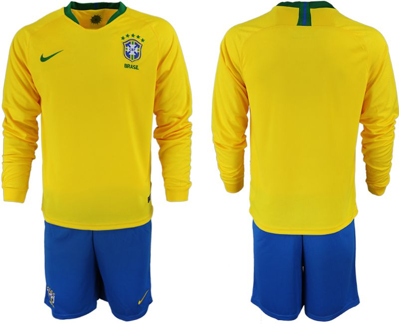 Men 2018-2019 National Brazil home Long sleeve yellow soccer jersey