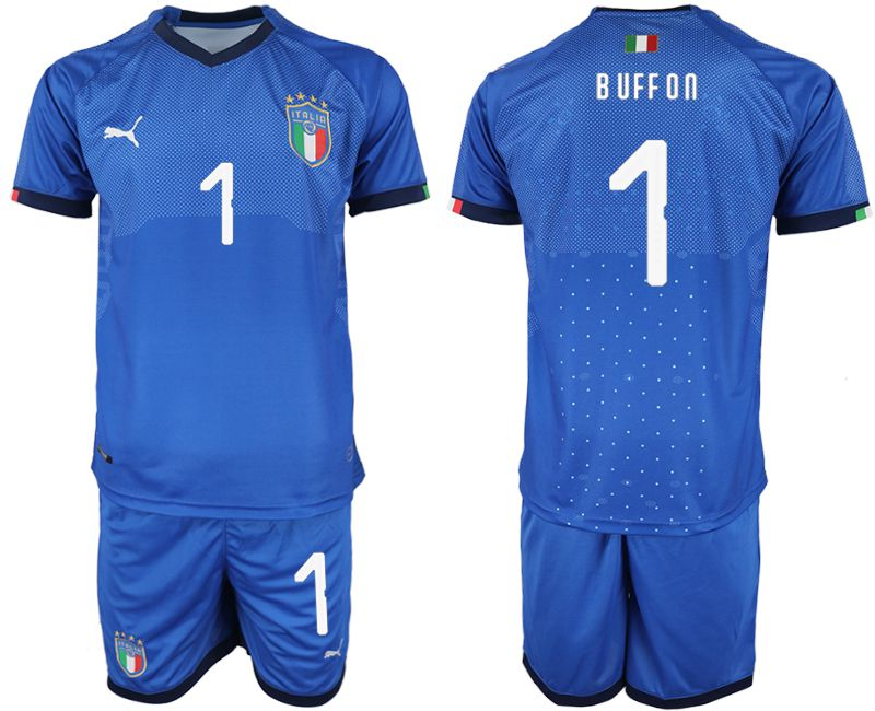 Men 2018-2019 National Italy home 1 blue soccer jersey