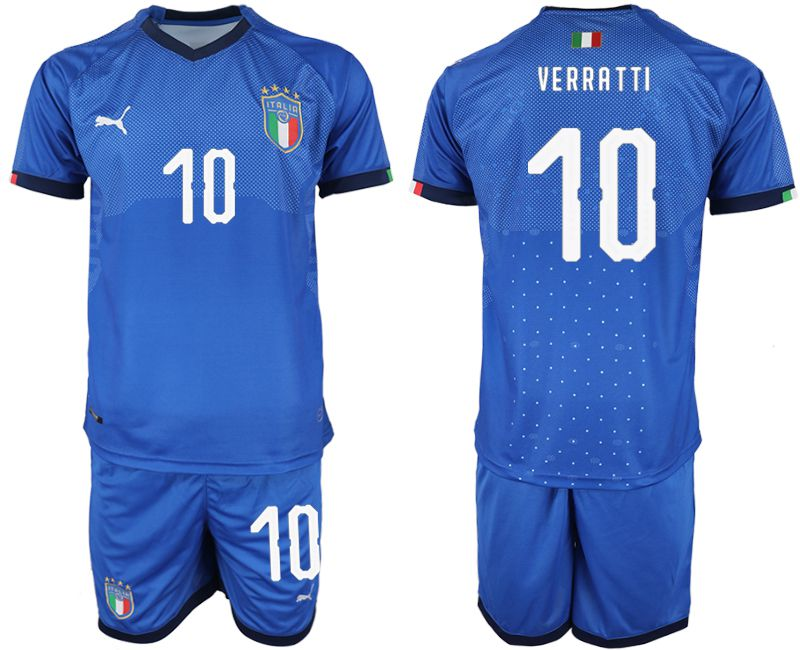 Men 2018-2019 National Italy home 10 blue soccer jersey