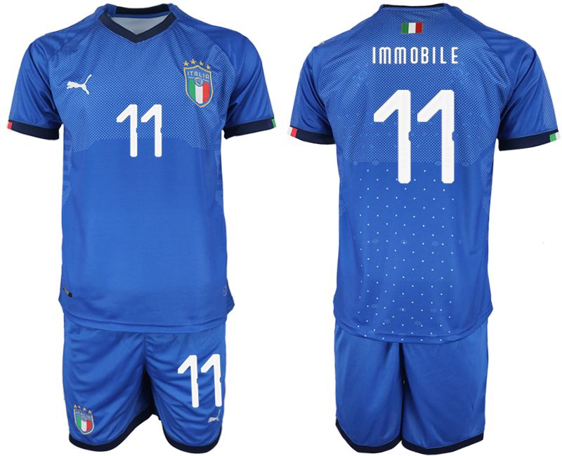 Men 2018-2019 National Italy home 11 blue soccer jersey