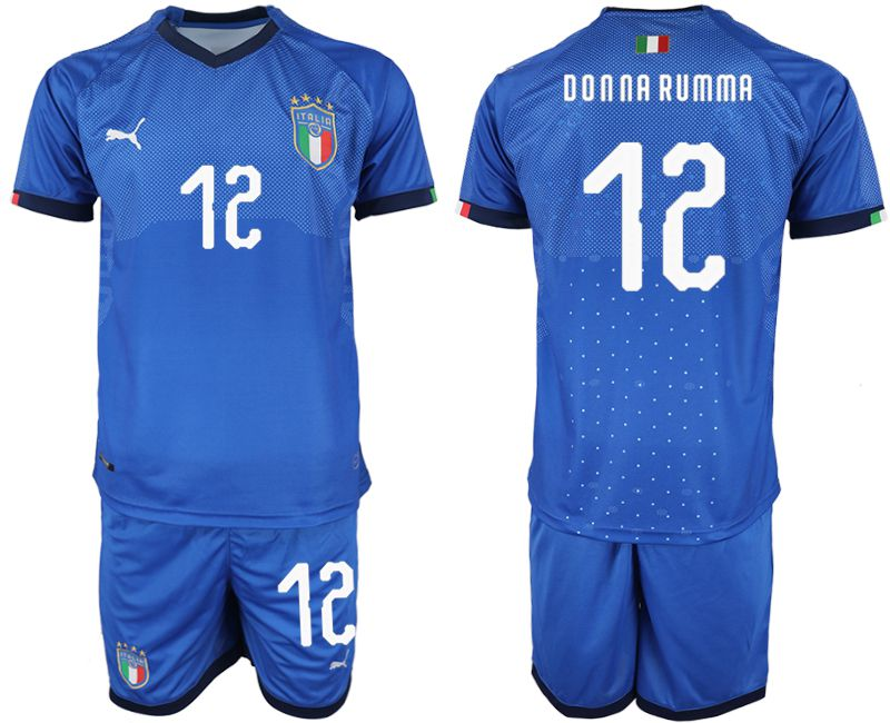 Men 2018-2019 National Italy home 12 blue soccer jersey