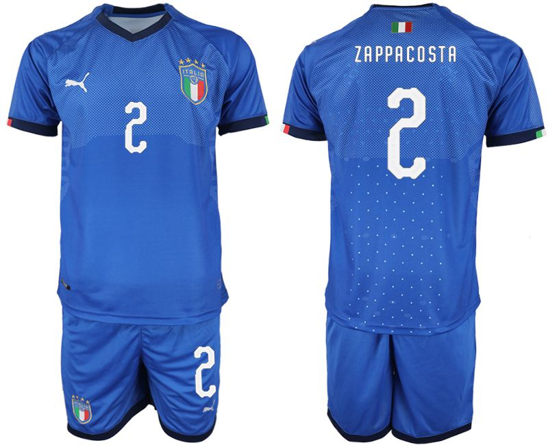 Men 2018-2019 National Italy home 2 blue soccer jersey