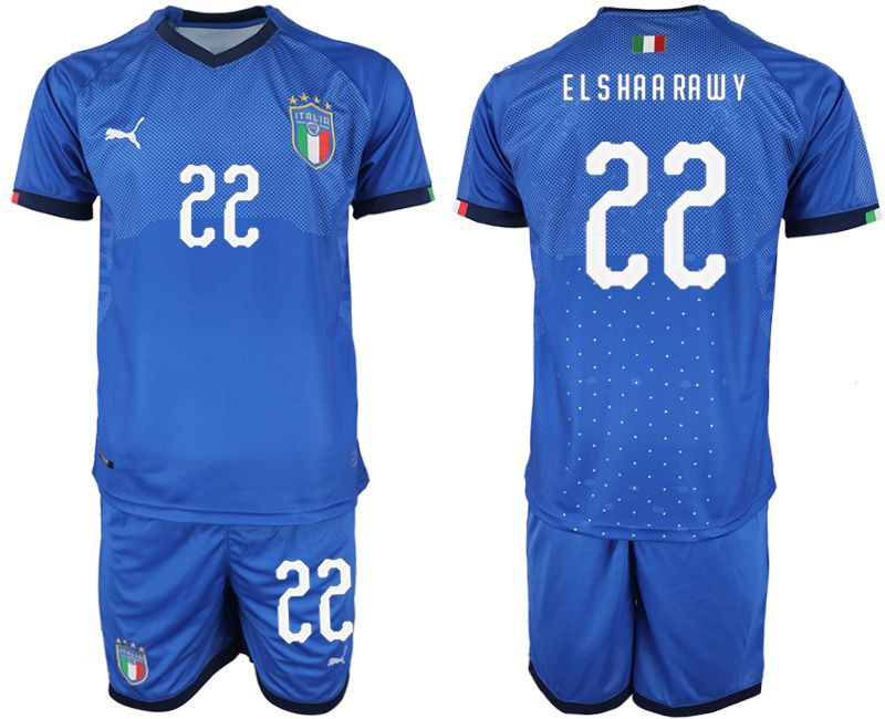 Men 2018-2019 National Italy home 22 blue soccer jersey