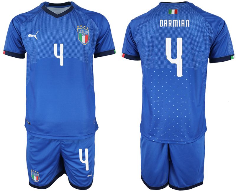 Men 2018-2019 National Italy home 4 blue soccer jersey