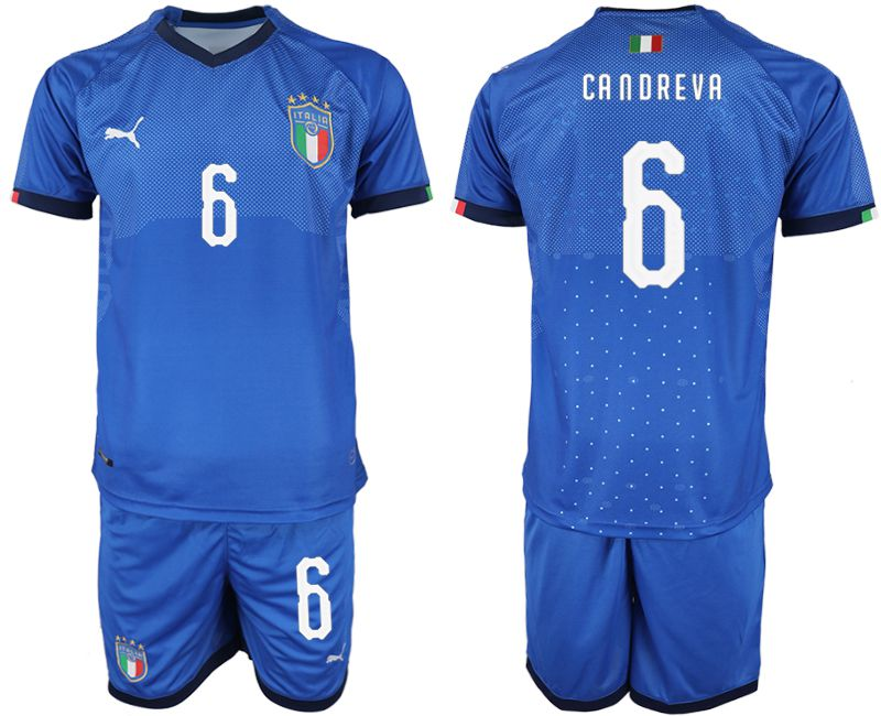 Men 2018-2019 National Italy home 6 blue soccer jersey