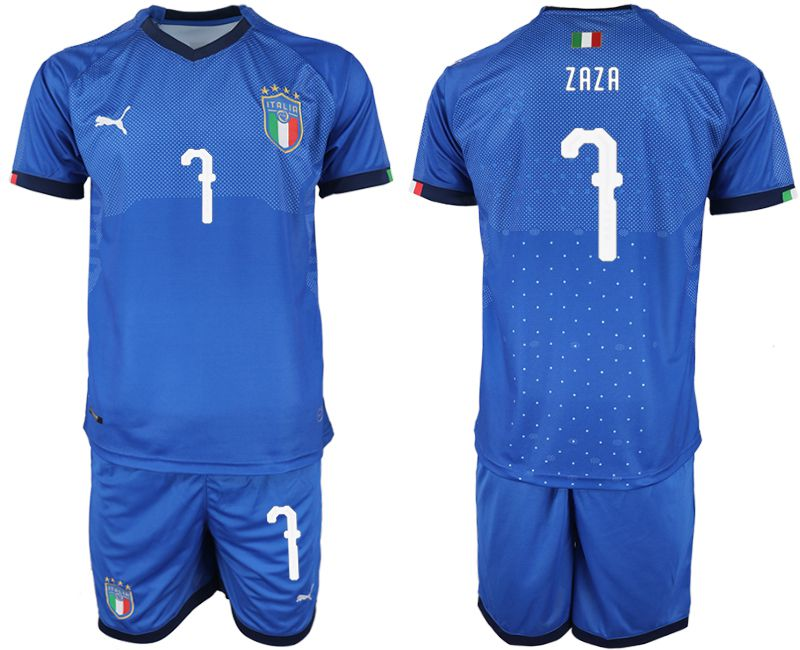 Men 2018-2019 National Italy home 7 blue soccer jersey