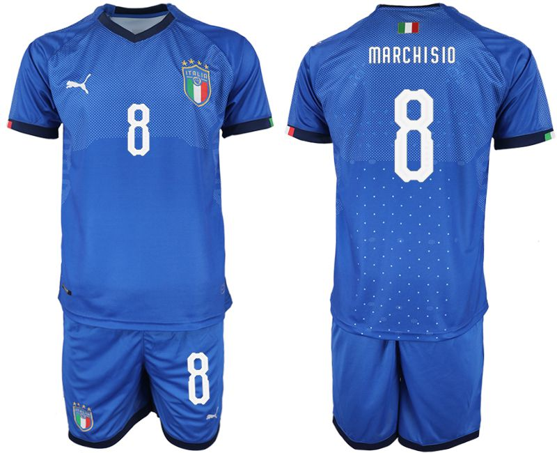 Men 2018-2019 National Italy home 8 blue soccer jersey