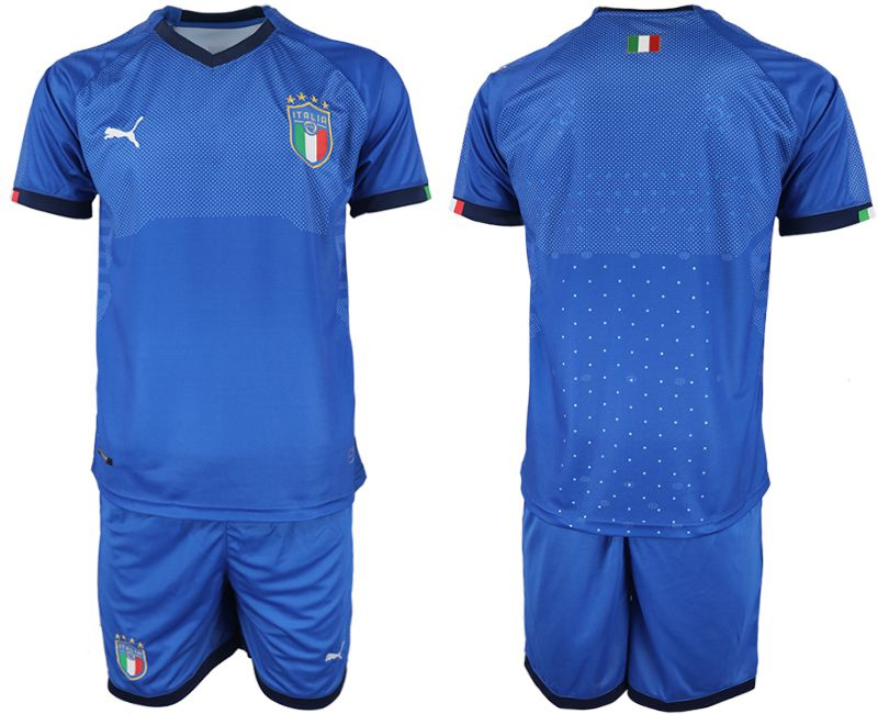 Men 2018-2019 National Italy home blank blue soccer jersey