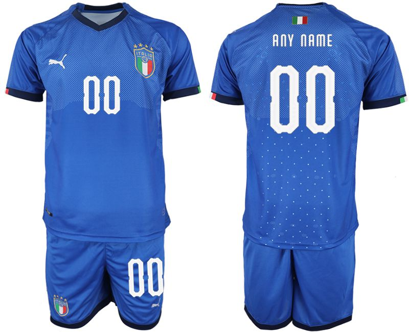 Men 2018-2019 National Italy home customized blue soccer jersey