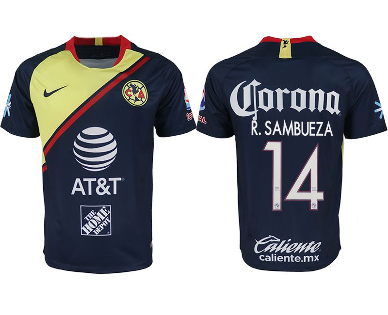 Men 2018-2019 club America away aaa version 14 blue soccer jersey