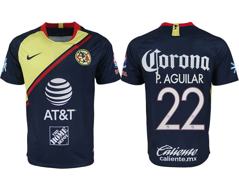 Men 2018-2019 club America away aaa version 22 blue soccer jersey