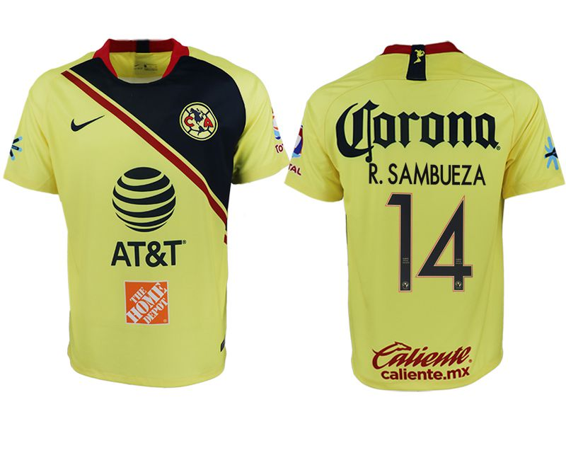 Men 2018-2019 club America home aaa version 14 yellow soccer jersey